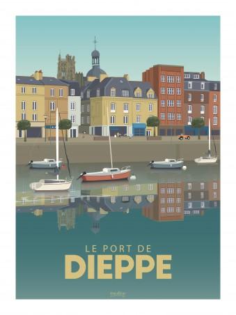 Affiche 30x40 - Le port de dieppe