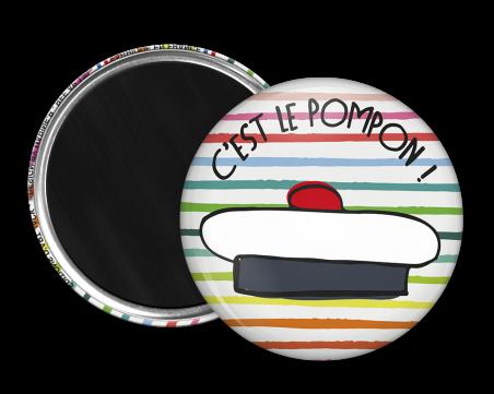 Magnet rond - Marine b - c'est le pompon