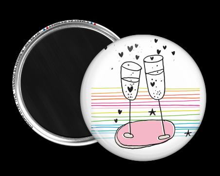 Magnet rond - Marine b - champagne