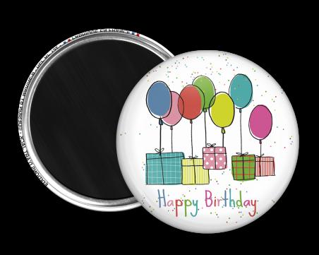 Magnet rond - Marine b - happy birthday