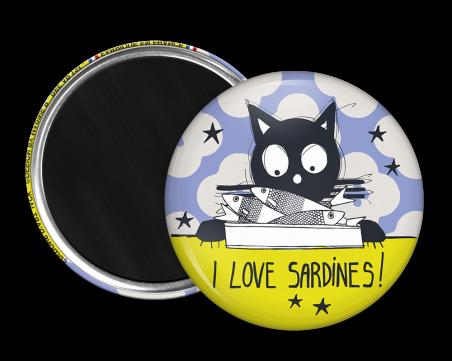 Magnet rond - Marine b - i love sardines