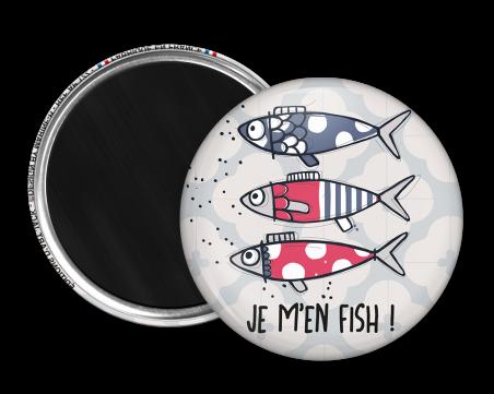 Magnet rond - Marine b - je m'en fish