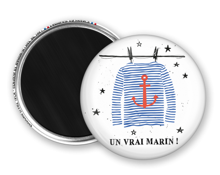 Magnet rond - Marine b - un vrai marin