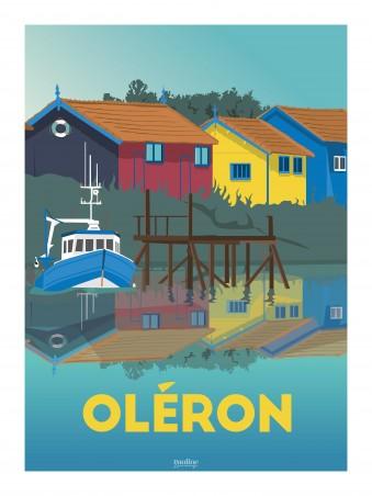 Affiche 30x40 - Oleron - chenal ostreicole