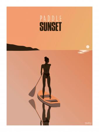 Affiche 30x40 - Paddle sunset