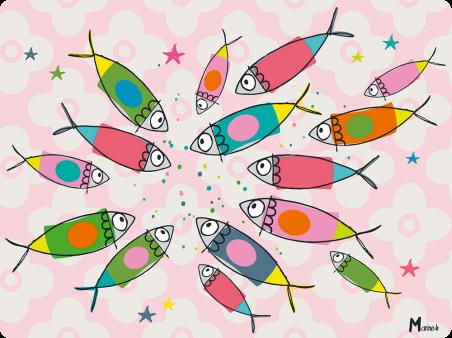 Sets plastifies - Marine b - ronde de poissons